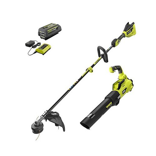 40V Brushless Cordless String Trimmer and Jet Fan Leaf Blower Kit with 4.0 Ah Battery and Charger