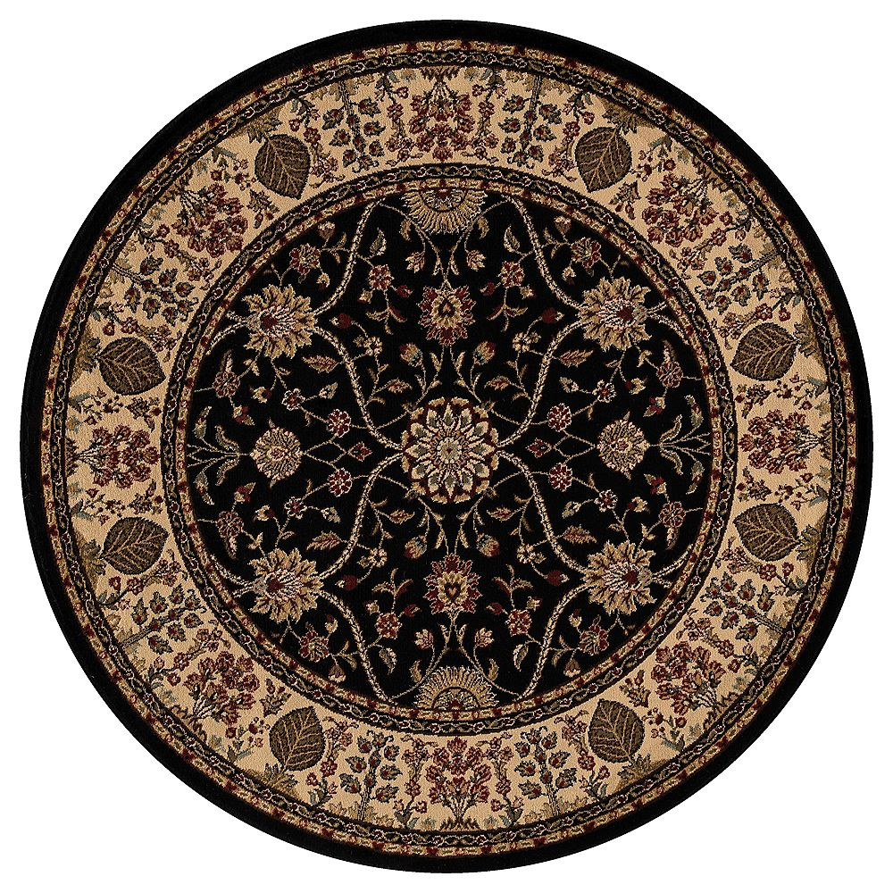 Concord Global Trading Jewel Voysey Black 5 ft. 3-inch Indoor Round Area Rug