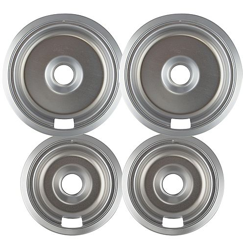 "Range Kleen 2 Sm/6"" & 2 Lg/8"" Chrome Drip Bowl, 4 Pk"