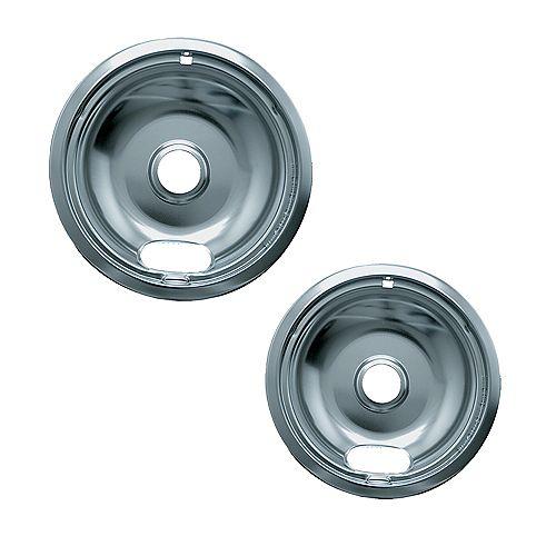 "Range Kleen 1 Sm/6"" & 1 Lg/8"" Economy Drip Bowl, 2 Pk"