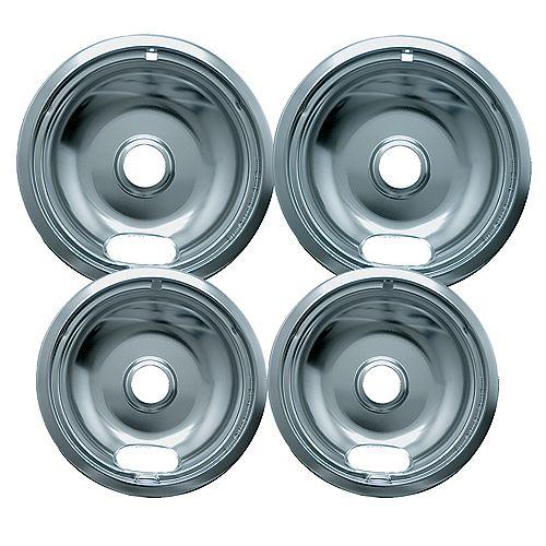 "Range Kleen 2 Sm/6"" & 2 Lg/8"" Economy Drip Bowls, 4 Pk"
