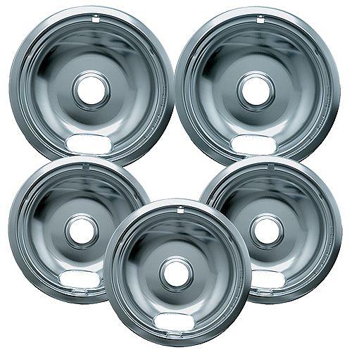"Range Kleen 3 Sm/6"" & 2 Lg/8"" Economy Drip Bowls, 5 Pk"
