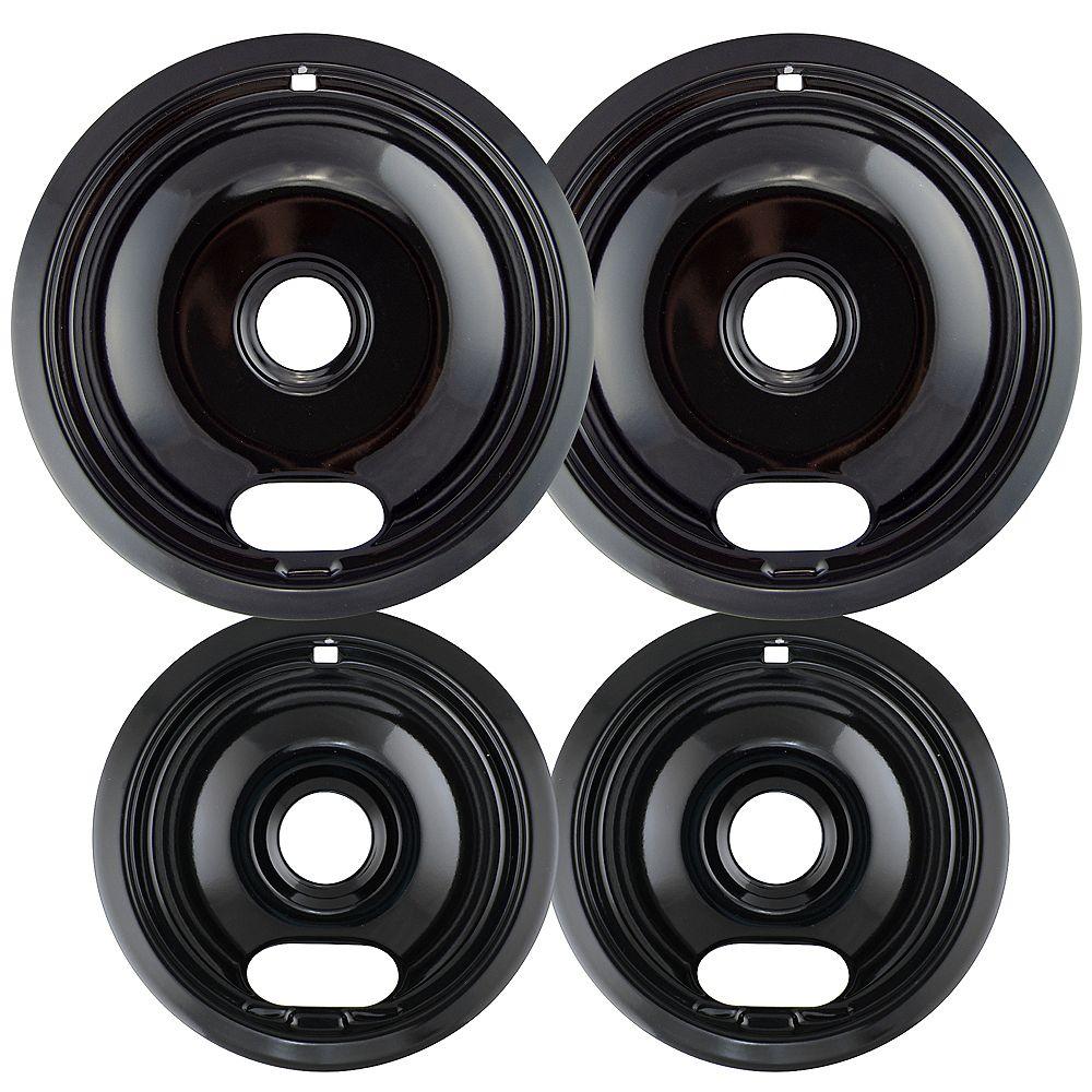 """Range Kleen Range Kleen 2 Sm/6"""" & 2 Lg/8"""" Black Porcelain Drip Bows, 4 Pk"""
