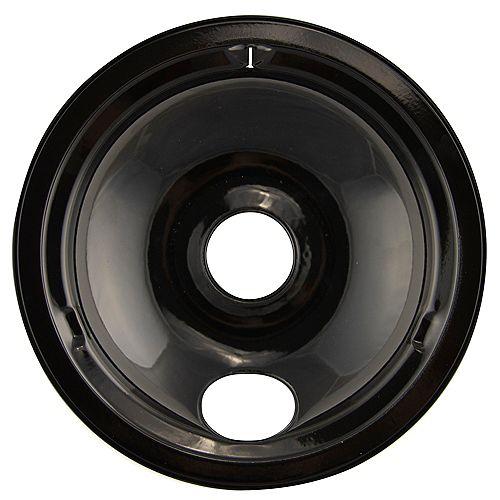 """Range Kleen 8""""/Lg Black Porcelain Drip Bowl, Sgl Pk"""