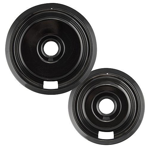 """Range Kleen 1 Sm/6"""" & 1 Lg/8"""" Black Porcelain Drip Pan, 2 Pk"""