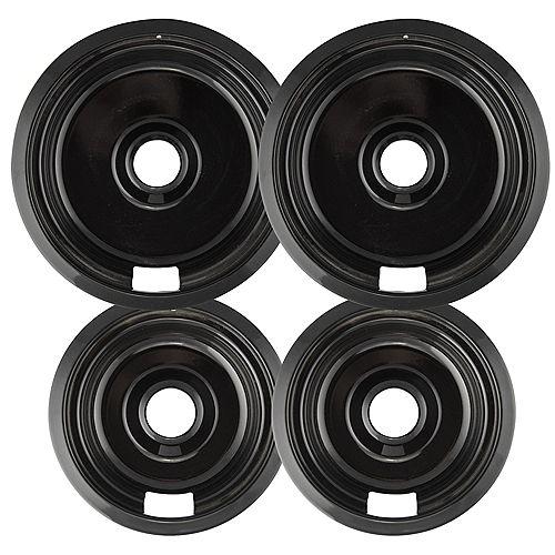 """Range Kleen 2 Sm/6"""" & 2 Lg/8"""" Black Porcelain Drip Pan, 4 Pk"""