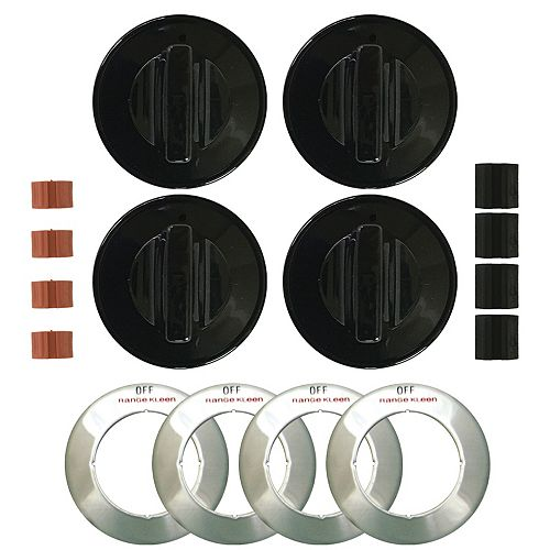 Range Kleen Knob Gas Black, 4 Pk