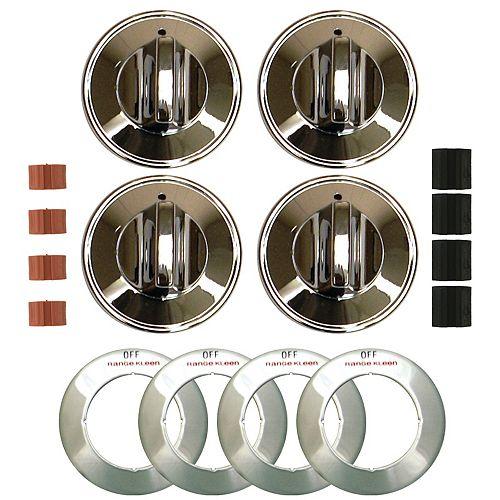 Range Kleen Knob Gas Chrome, 4 Pk