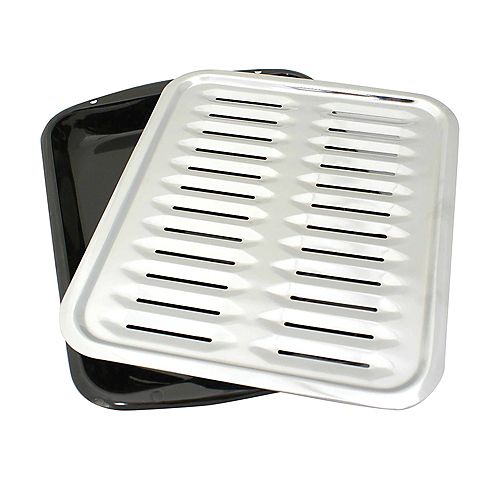 """Range Kleen Porcelain Broiler Pan with Chrome Grill 13x16"""""""