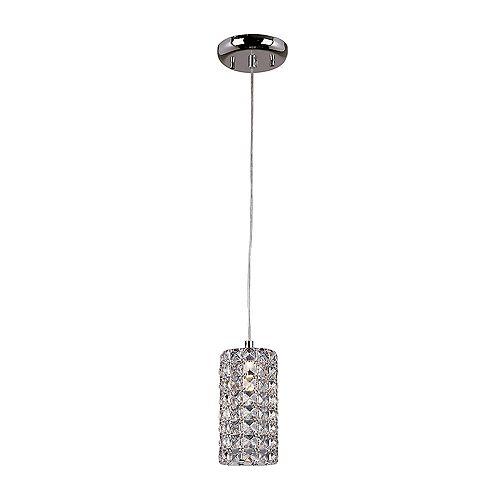Luminaire suspendu miniature à 1 ampoule, fini en chrome, avec abat-jour en cristal