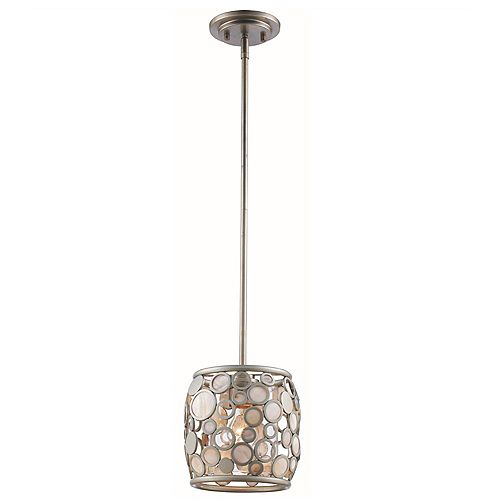 Fisher 1-Light Antique Silver Leaf Pendant with Metal and Glass Shade