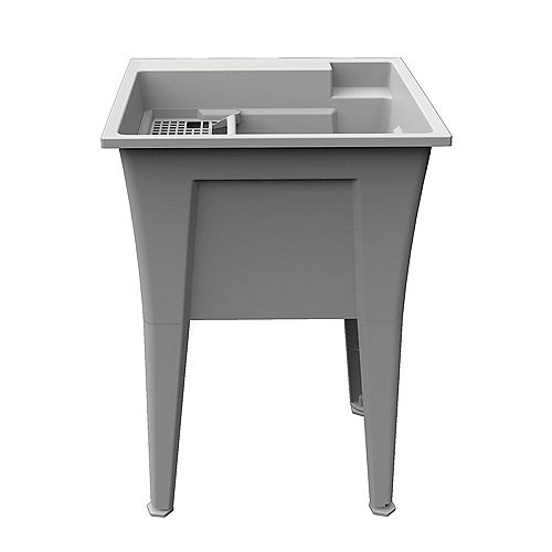 Extra Heavy-Duty 24 inch Granite-Grey Laundry Tub with an Integrated Bottle Holder