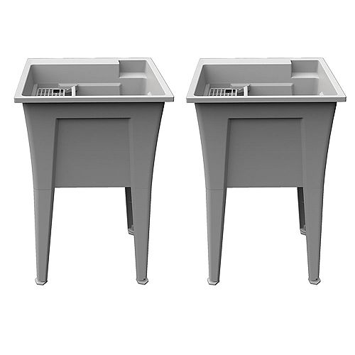 Rugged Tubs Extra Heavy-Duty 24 inch Granite-Grey Laundry Tub with an Integrated Bottle Holder (2 Pk)