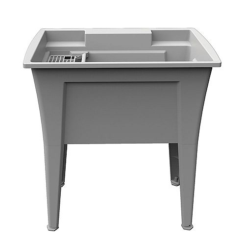 Extra Heavy-Duty 32 inch Grey Laundry Tub with Two Integrated Bottle Holders
