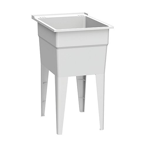 Narrow 18 in. White Laundry Tub with Two Integrated Soap Dishes and Four Legs Supporting Two Shelves