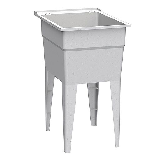 Narrow 18 in. Granite-Grey Laundry Tub with Two Integrated Soap Dishes and Four Legs