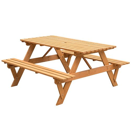 A-Frame Outdoor Patio Deck Garden Picnic Table, Stained