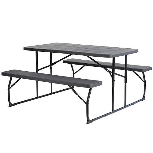 Gray Outdoor Foldable Woodgrain Portable Picnic Table Set
