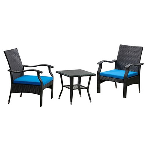 Whylie 3pc Wicker Chat Set, Blue