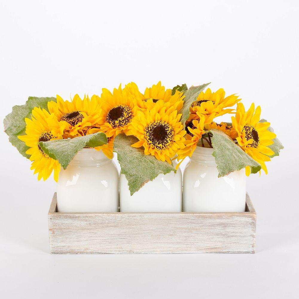 Home Accents Holiday 22,8 cm Vase de tournesol sur plateau en