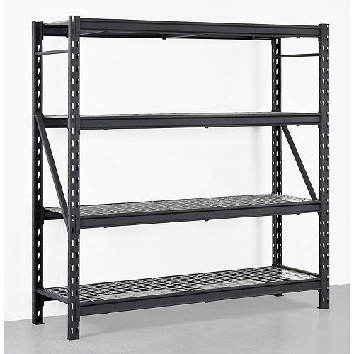 Black 4-Tier Heavy Duty Industrial Welded Steel Garage Shelving Unit (77 in. W x 78 in. H x 24 in.D)