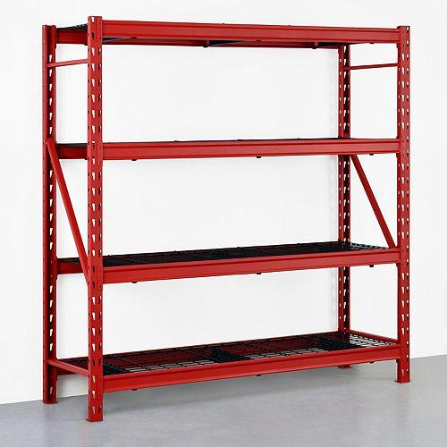 Red 4-Tier Heavy Duty Industrial Welded Steel Garage Shelving Unit (77 in. W x 78 in. H x 24 in.D)