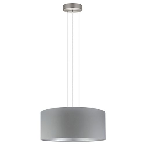 Maserlo Pendant Light, Matte Nickel Finish with Grey and Silver Fabric Shade