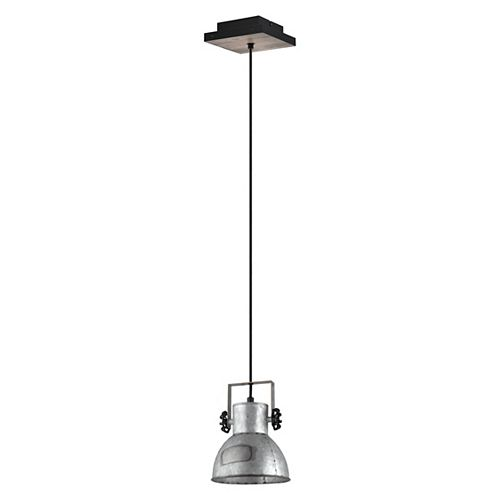 Barnstaple Pendant Light, Black and Bleached Wood Finish with Distressed Zinc and Black Metal Shade