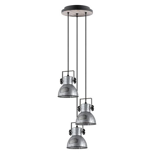 Barnstaple Pendant 3-Light, Black &  Bleached Wood Finish with Distressed Zinc and Black Metal Shade