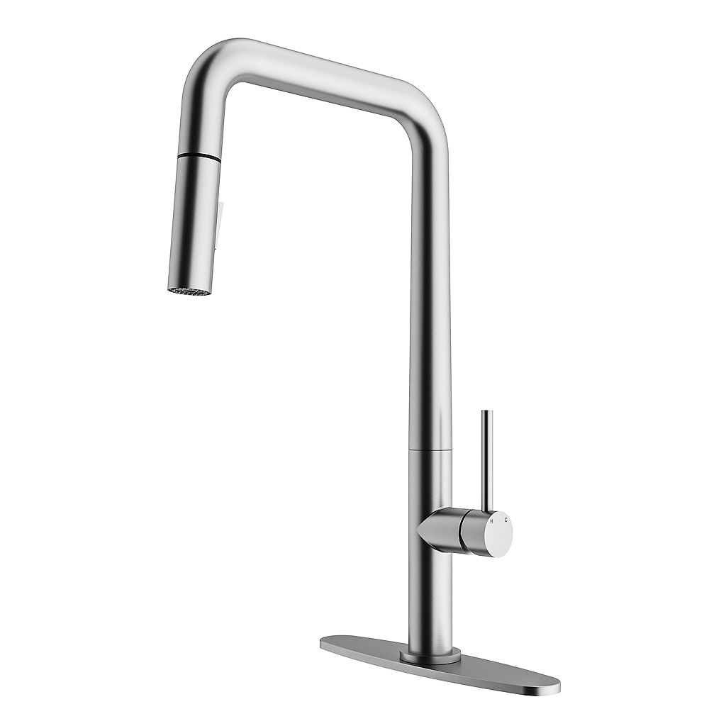 Vigo Parsons Single Handle Pull Down Sprayer Kitchen Faucet With Deck Plate In Stainless S The Home Depot Canada