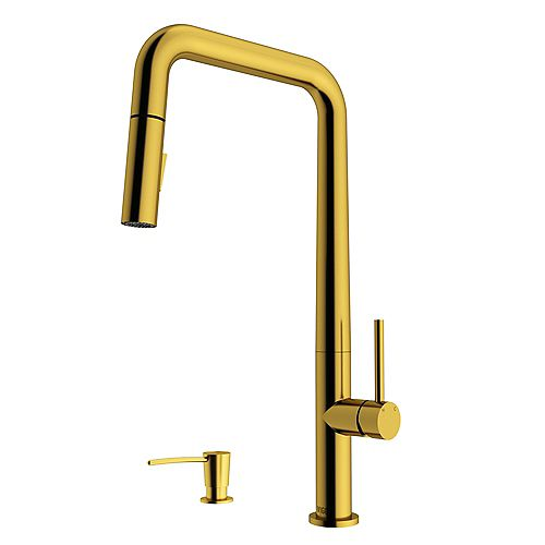 Parsons Single-Handle Pull-Down Sprayer Kitchen Faucet with Soap Dispenser in Gold