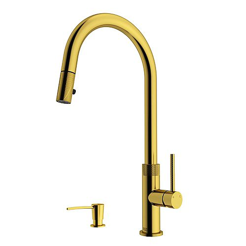 Bristol Single-Handle Pull-Down Sprayer Kitchen Faucet with Soap Dispenser in Matte Gold