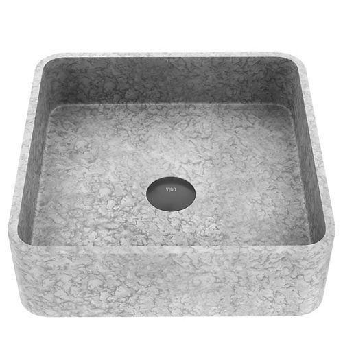 Concreto Stone Square Vessel Bathroom Sink in Gray