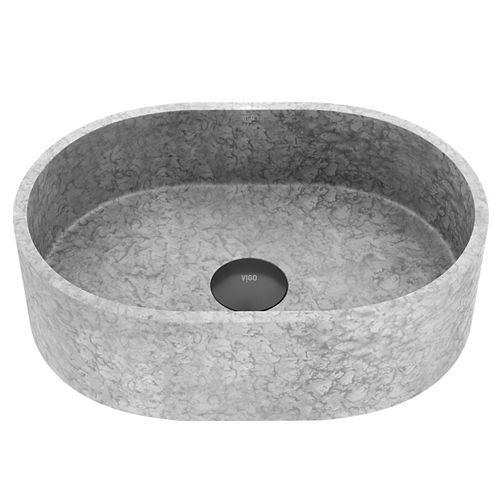 Concreto Stone 16 po. Vaisseau de salle de bains ovale en béton, gris