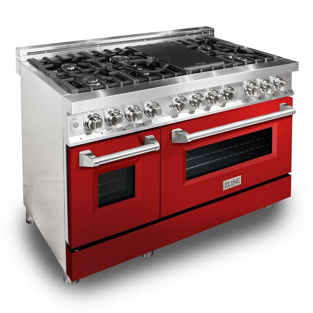 """ZLINE Kitchen and Bath ZLINE 48""""  Dual Fuel Range with Red Gloss Door (RA-RG-48)"""