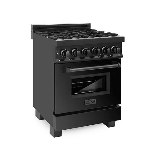 "ZLINE Kitchen and Bath ZLINE 24""  Dual Fuel Range in Black Stainless Steel (RAB-24)"