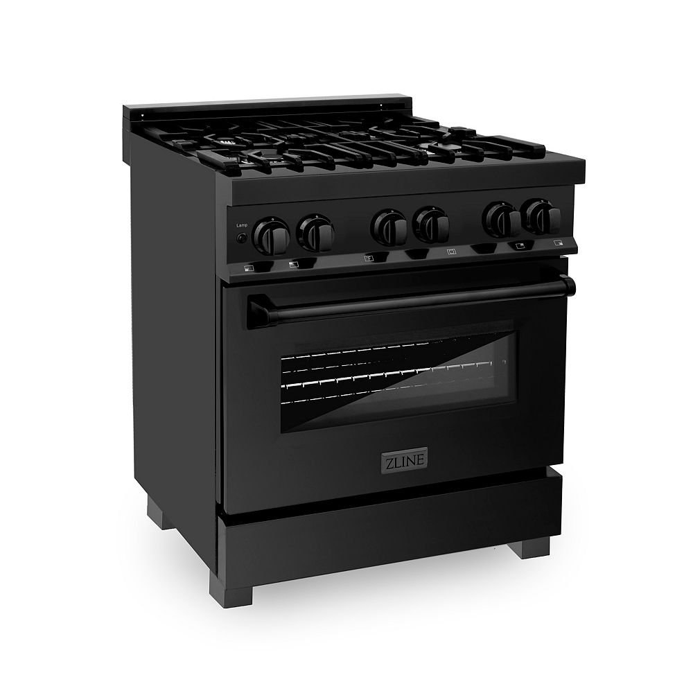 "ZLINE Kitchen and Bath ZLINE 30"" Black Stainless 4.0 cu.ft. Dual Fuel Range (RAB-30)"