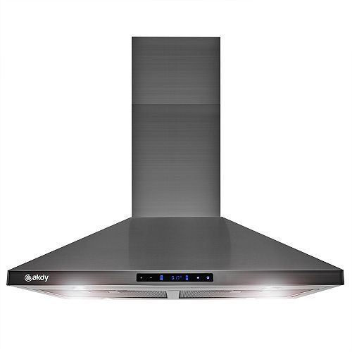 30 in. Island Mount Black Stainless Steel Kitchen Range Hood with Touch Panel and Carbon Filters
