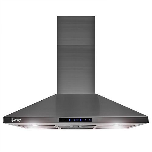 36 in. Island Mount Black Stainless Steel Kitchen Range Hood with Touch Panel and Carbon Filters