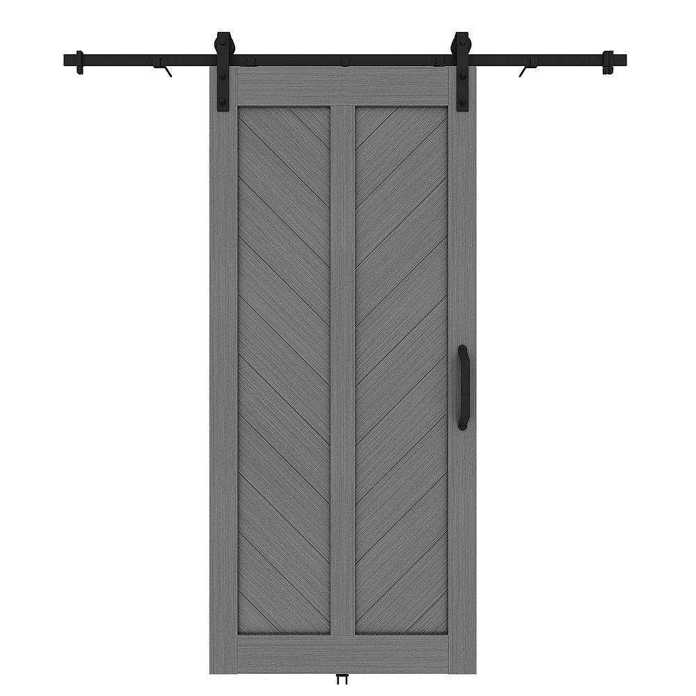 Renin 37-inch x 84-inch Chevron Knockdown Barn Door Kit. Includes Door, Rail and Door Handle