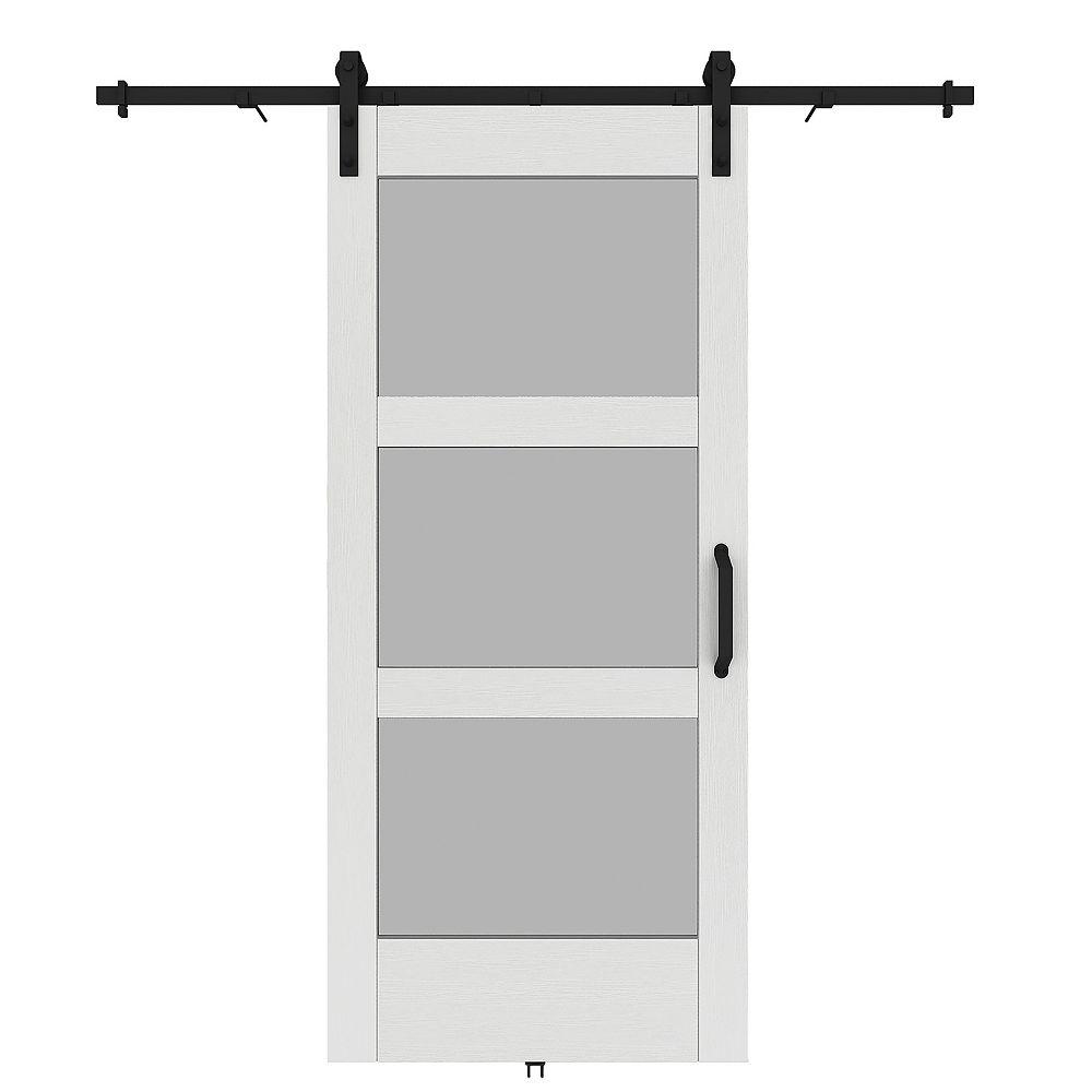 Renin 37-inch x 84-inch 3-Lite Barn Door Kit with Door, Rail and Door Handle