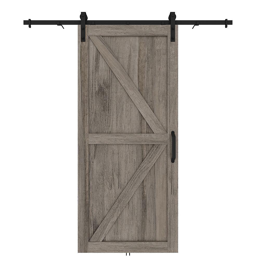 Renin 37-inch x 84-inch Barn Door Kit in Artisan Grey with Door, Rail and Door Handle