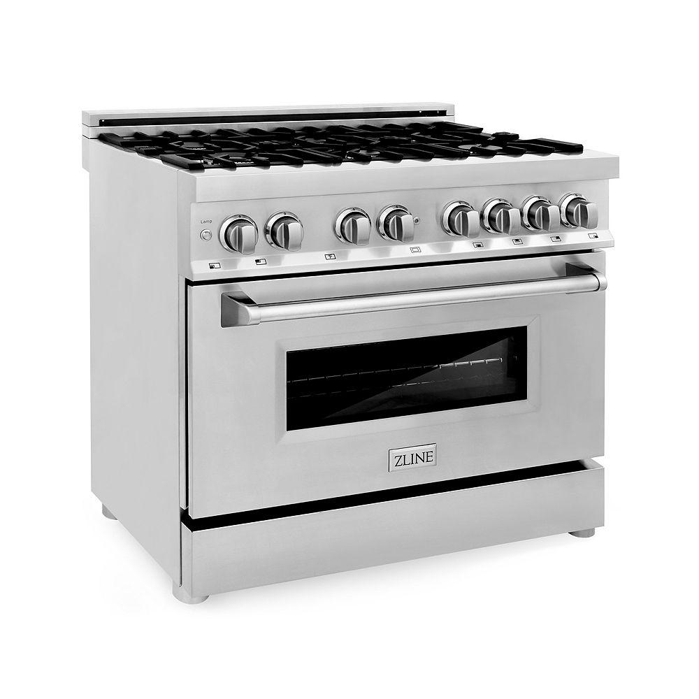 """ZLINE Kitchen and Bath ZLINE 36""""  4.6 cu. ft. Dual Fuel Range in Stainless Steel (RA36)"""