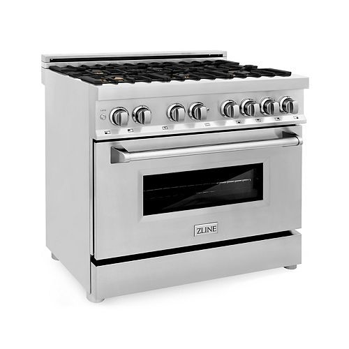 ZLINE 36 in. Professional 4.6 cu. ft. Dual Fuel Range in Stainless Steel with Brass Burners