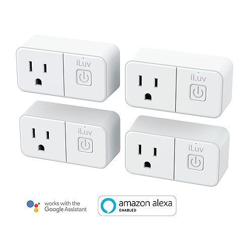 Prise mini Wi-Fi intelligente iLuv avec compatibilité Alexa et Google Assistant - Paquet de 4
