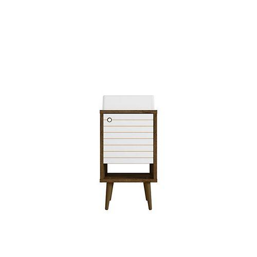 Liberty 17.71-inch Single-Sink Vanity in Rustic Brown and White with Vanity Top in Rustic Brown