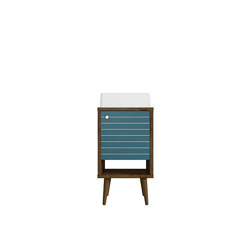 Liberty 17.71-inch Single-Sink Vanity in Rustic Brown and Aqua Blue with Vanity Top in Rustic Brown