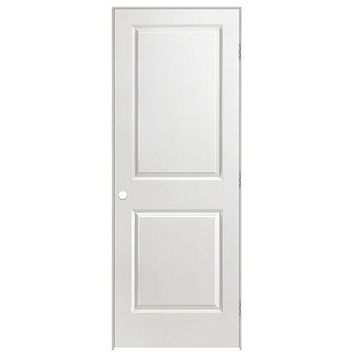 30 x 80 2 Panel Smooth Solid Core Prehung Door Left Hand