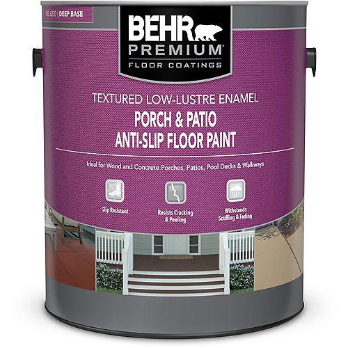 BEHR Porch & Patio Anti-Slip Floor Paint - Textured Low-Lustre Enamel - Deep Base No. 6230, 3.79L