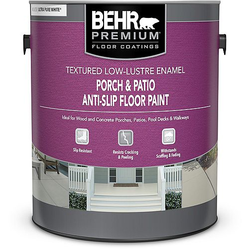 BEHR Porch & Patio Anti-Slip Floor Paint - Textured Low-Lustre Enamel - Ultra Pure White No. 6250, 3.79L